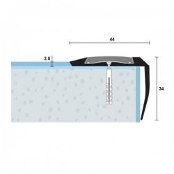 Protišmyková PVC vložka drážkovaná pre schodové hrany antracitová - šírka 29 mm