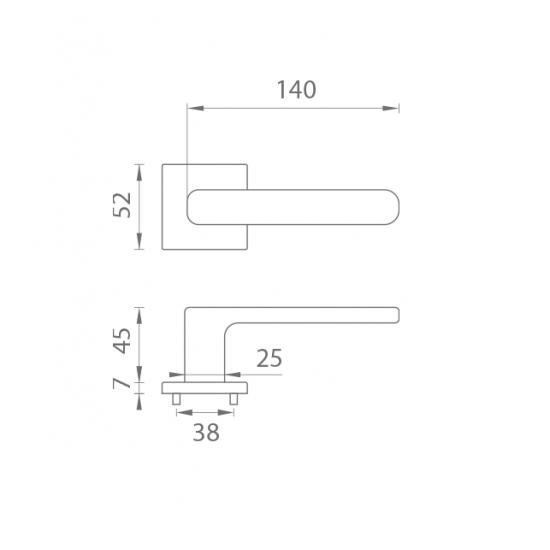 Kľučka na dvere AS - STELLA - HR 7S OC - Chróm lesklý