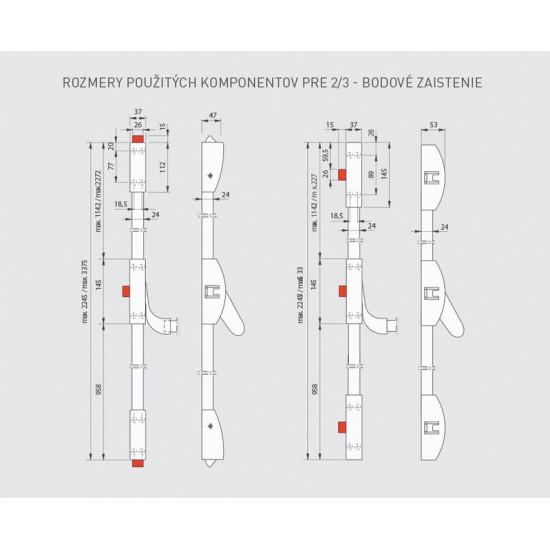 DA - Trojbodové panikové kovanie na jednokrídlové dvere D1/1B-1H-1D S - Strieborná
