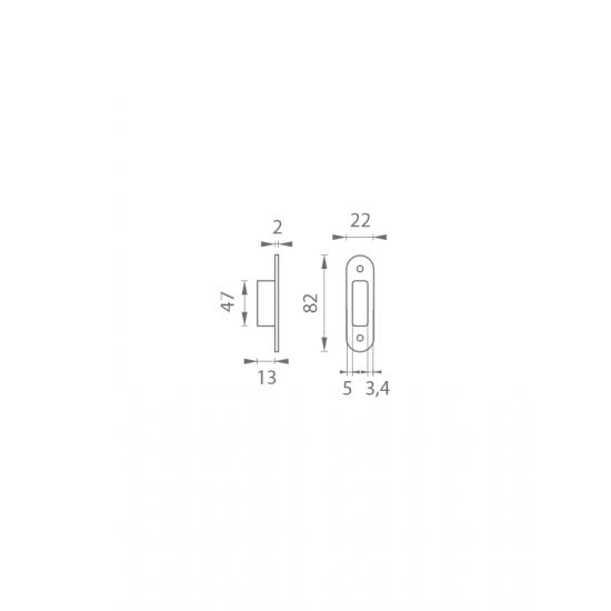 AGB - Protiplech k magnetickému zámku MEDIANA POLARIS nastaviteľný s plastovou vaničkou N - Niklový komaxit