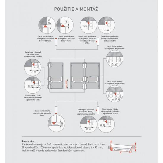 DA - Štvorbodové panikové kovanie na dvojkrídlové dvere D2/2H-2D S - Strieborná