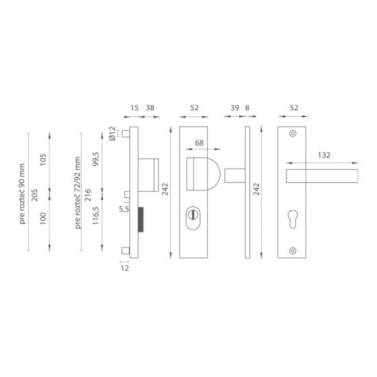 Bezpečnostné kovanie AXA - OMEGA2 PLUS F6 - Inox elox