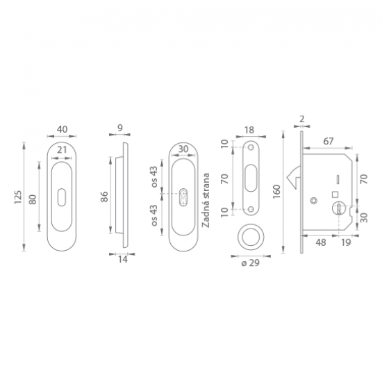 FT - Set na posuvné dvere - BB/S - R OGS - Bronz česaný matný lak