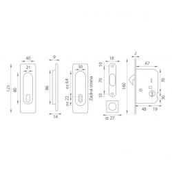FT - Set na posuvné dvere - BB/D - HR OC - Chróm lesklý