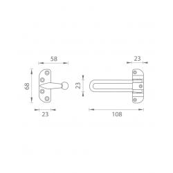 JNF - Bezpečnostná poistka na dvere IN.17.200 BN - Brúsená nerez