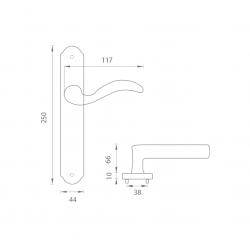 Kľučka na dvere FO - PAPERINO OGS - Bronz česaný matný lak