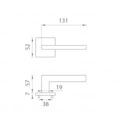 Kľučka na dvere AT - PYROLA - HR 7S OCS - Chróm brúsený