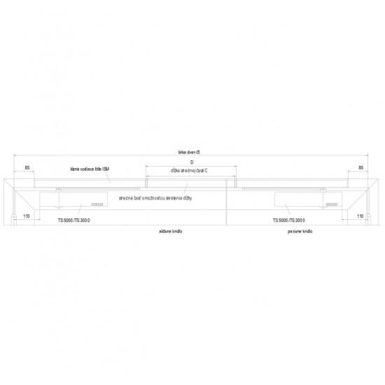 GZ - ISM lišta pre 2-krídlové dvere S - Strieborná