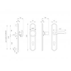 Spevnené kovanie MI - LYON / FIRENZE G OGS - Bronz česaný matný lak