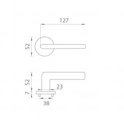 Kľučka na dvere AT - OLEANDRO - R 7S OCS - Chróm brúsený