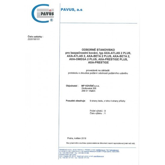 Bezpečnostné kovanie AXA - BETA2 PLUS F6 - Inox elox