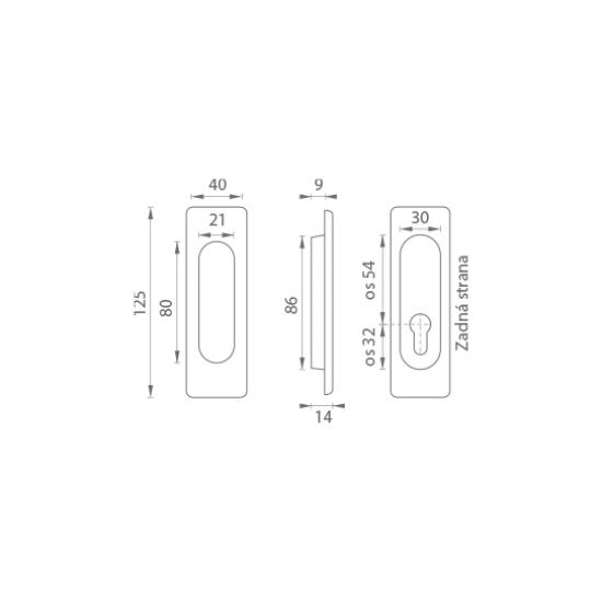 FT - Mušľa hranatá PZ/D - 3663AZ OGS - Bronz česaný matný lak