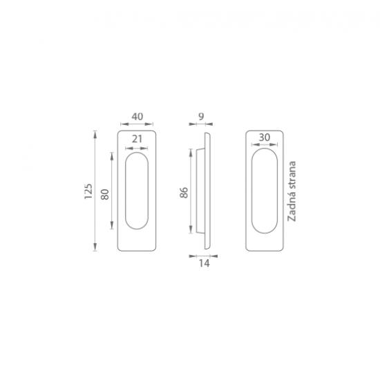 FT - Mušľa hranatá bez otvoru - 3663AC BN - Brúsená nerez