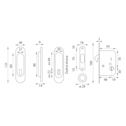 FT - Set na posuvné dvere - BB/D - R OC - Chróm lesklý