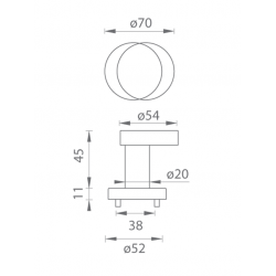 TI - Guľa vyosená - R 2273 B - Brúsená nerez