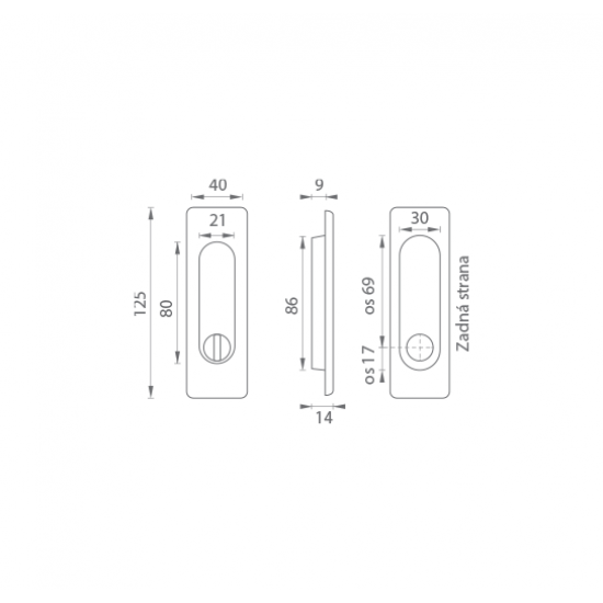 FT - Mušľa hranatá WC - 3663AR OC - Chróm lesklý
