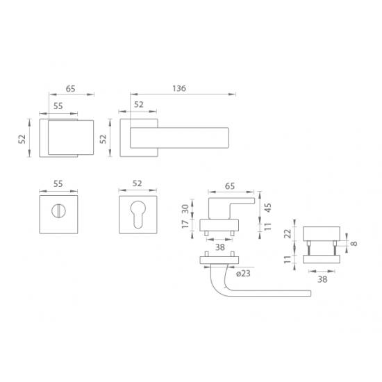 Bezpečnostné kovanie TI - CUBO/CINTO - HR 3230/2732 OCS - Chróm brúsený