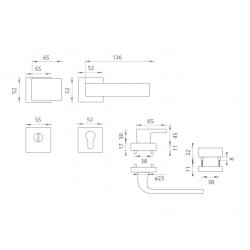 Bezpečnostné kovanie TI - CUBO/CINTO - HR 3230/2732 OC - Chróm lesklý