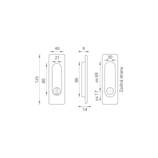 FT - Mušľa hranatá WC - 3663AR ONSM - Nikel brúsený matný lak