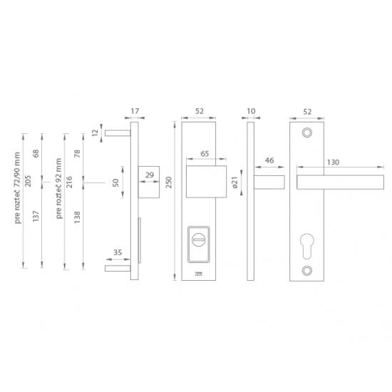 Bezpečnostné kovanie TI - FORTE PLUS - 3214 OCS - Chróm brúsený