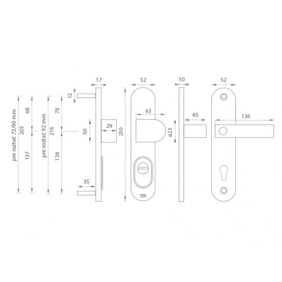 Bezpečnostné kovanie TI - LORD PLUS - 3212 CP - Chróm perla