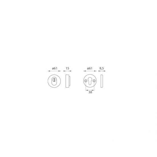 AXA - ROZETA PLUS F6 - Inox elox