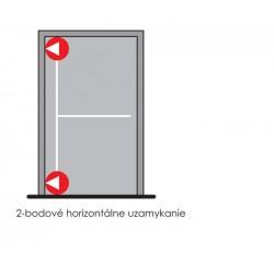 DA - Dvojbodové panikové kovanie s bočnou západkou na jednokrídlové dvere D1/2B S - Strieborná