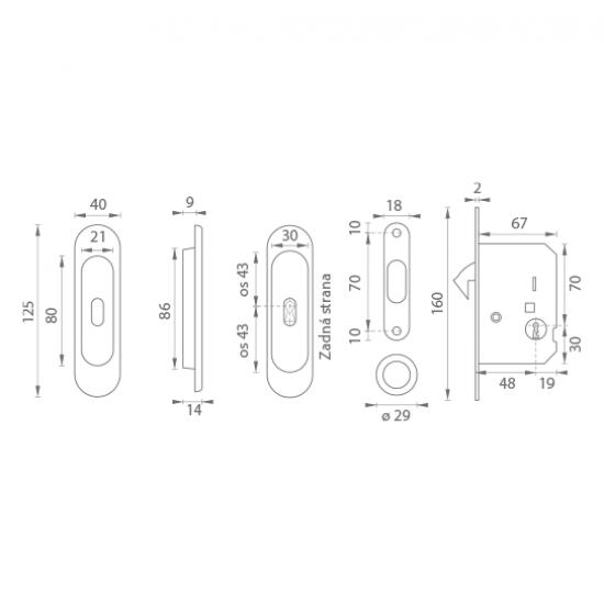 FT - Set na posuvné dvere - BB/S - R OLV - Mosadz leštená lesklý lak