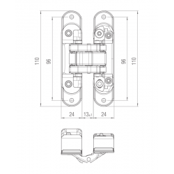 KZ - Skrytý záves Atomika - K8060 BS - Čierna matná