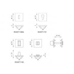 MP  - HR SQ6 - Rozeta OCS - Chróm brúsený