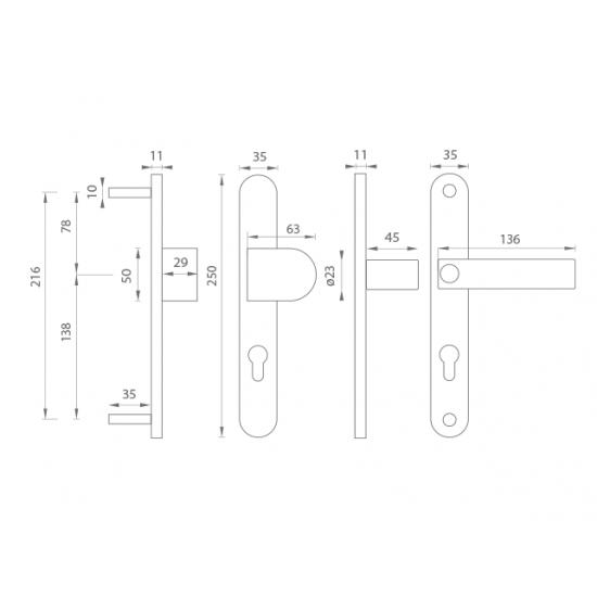 Spevnené kovanie TI - MAGNUS - 3198 OGS - Bronz česaný matný lak