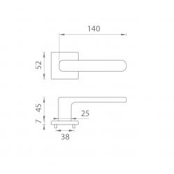 Kľučka na dvere AS - STELLA - HR 7S OCS - Chróm brúsený