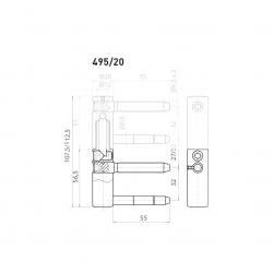 OV - Pánt nastaviteľný spodný 495/20 BP - Biely pozink