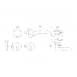 Spevnené kovanie MI - LYON / FIRENZE - R G OGS - Bronz česaný matný lak
