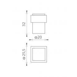 TI - Podstavec pod zarážku - 2617 BOC - Čierny chróm lesklý