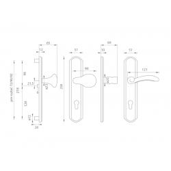 Spevnené kovanie MI - LYON / FIRENZE M OGS - Bronz česaný matný lak