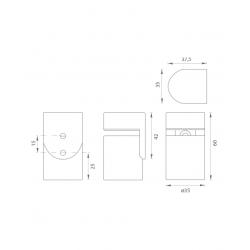 JNF - Magnetická zarážka dverí IN.13.186 BN - Brúsená nerez