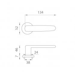 Kľučka na dvere AS - ROSA - R 7S OCS - Chróm brúsený