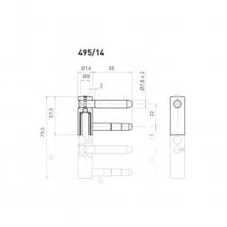 OV - Pánt nastaviteľný vrchný 495/14 BP - Biely pozink