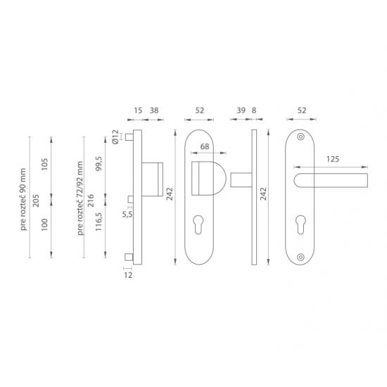 Bezpečnostné kovanie AXA - BETA2 F6 - Inox elox