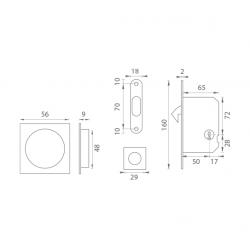 ATZ - Set na posuvné dvere BB 3973D - hranatý BN - Brúsená nerez
