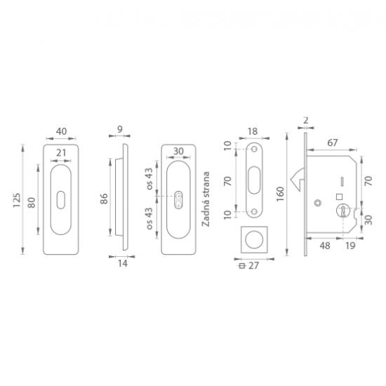 FT - Set na posuvné dvere - BB/S - HR NP - Nikel perla
