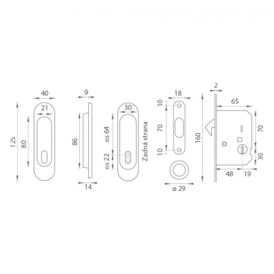 FT - Set na posuvné dvere - BB/D - R ONS - Nikel brúsený lesklý lak