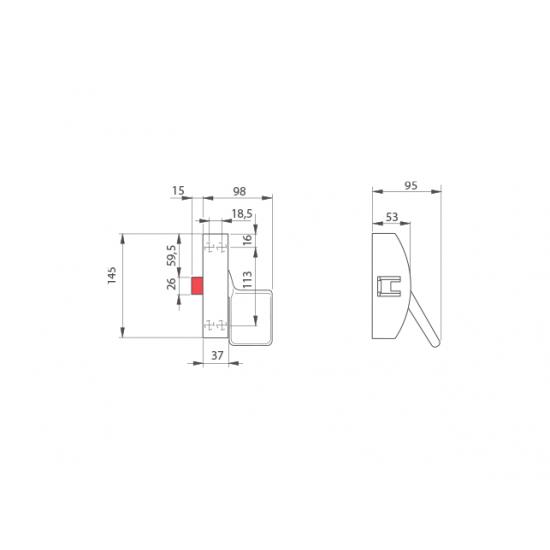 DA - KOVANIE EXIT PAD F/F na jednokrídlové dvere S - Strieborná