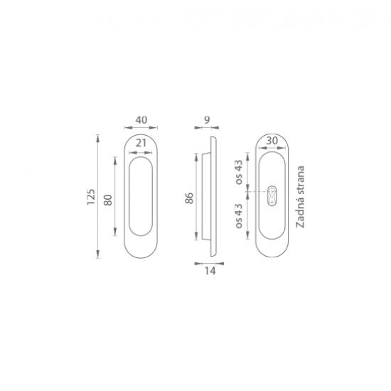 FT - Mušľa ovál BB/S - 3665AF OGS - Bronz česaný matný lak