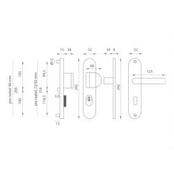 Bezpečnostné kovanie AXA - BETA2 PLUS F1 - Prírodný elox