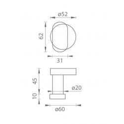 TI - Guľa vyosená - R 2209 B - Brúsená nerez