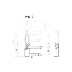OV - Pánt nastaviteľný spodný 495/14 ŽP - Žltý pozink