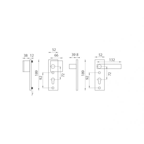 Bezpečnostné kovanie AXA - ROYAL MINI F6 - Inox elox