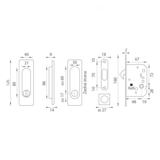 FT - Set na posuvné dvere - WC - HR NP - Nikel perla